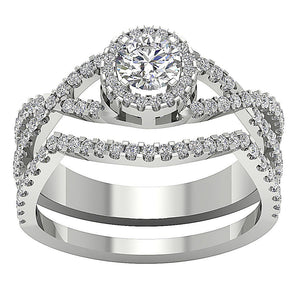 14k White Gold Prong Set Anniversary Ring Natural Diamond-DCR133