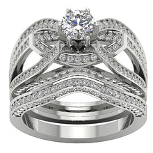 Load image into Gallery viewer, 14k White Gold Antique Style Bridal Ring Set