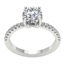 Load image into Gallery viewer, Accent Solitaire Engagement Round Natural Diamond Ring 14k Solid Gold  I1 G 1.90 Ct