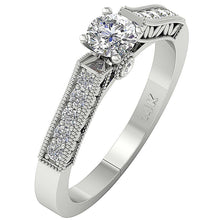 Load image into Gallery viewer, Bezel & Prong Set 14K White Gold Side View Natural Diamond Ring-DSR199