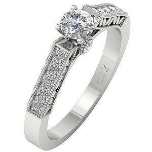 Bezel & Prong Set 14K White Gold Side View Natural Diamond Ring-DSR199