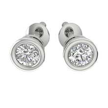Load image into Gallery viewer, Solitaire Studs Earrings SI1 G 0.75 Ct Bezel Set Round Diamonds 14k/18k White Yellow Gold
