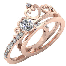 Load image into Gallery viewer, 14k Rose Gold Bridal Anniversary Ring Set