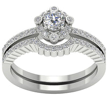 Load image into Gallery viewer, 14k White Gold Bridal Ring Set Genuine Diamond
