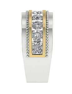 Two Tone Gold Ring Channel Set-MR-89-2.00Ct