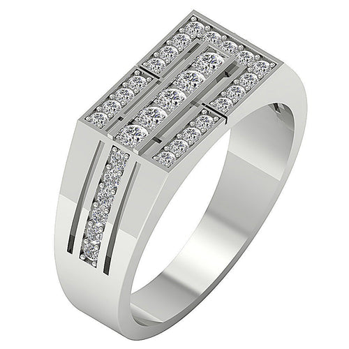 Mens Wedding Ring SI1/I1 G 0.80Ct 14k Solid Gold Natural Diamonds Channel Set Width 8.00MM