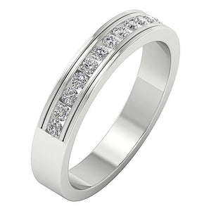 Channel Set Natural Diamond Ring 14k White Gold