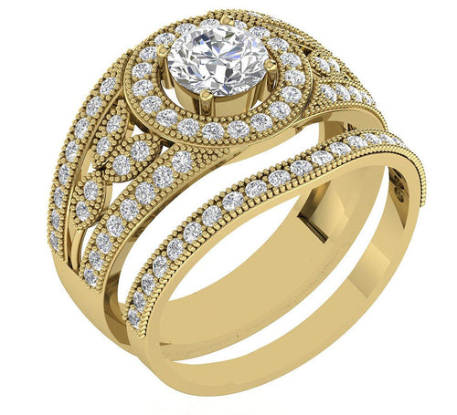 Round Cut Diamond Couple Halo Anniversary Ring-CR-182