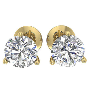 Solitaire Studs Earring Cross Side 14K Yellow Gold  DST95-1.50