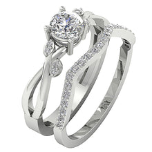 Load image into Gallery viewer, Designer Couple Ring Set 14k White Gold Prong Set-DCR142
