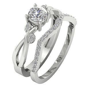 Designer Couple Ring Set 14k White Gold Prong Set-DCR142