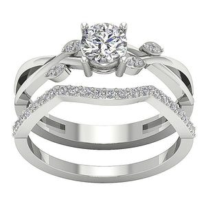 14k White Gold Natural Diamond Ring-DCR142
