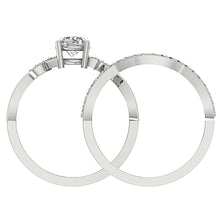 Load image into Gallery viewer, 14K White Gold Round Cut Diamond Ring Front View-DCR142