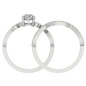 14K White Gold Round Cut Diamond Ring Front View-DCR142