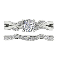 Load image into Gallery viewer, 14k White Gold Two Row Wedding Band-DCR142