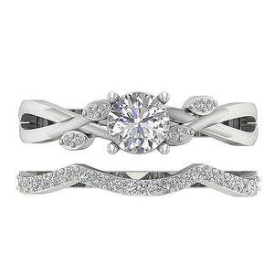 14k White Gold Two Row Wedding Band-DCR142