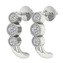 Load image into Gallery viewer, Fashion Milgrain Earrings Natural Diamonds Bezel Set 14k Solid Gold I1 G 0.55 Ct
