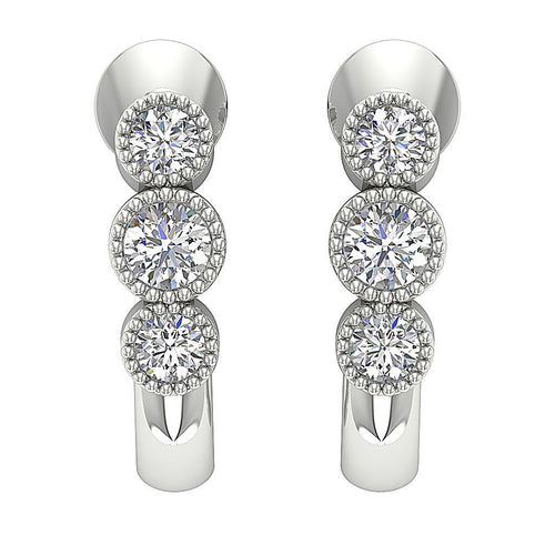 Fashion Milgrain Earrings Natural Diamonds Bezel Set 14k Solid Gold I1 G 0.55 Ct