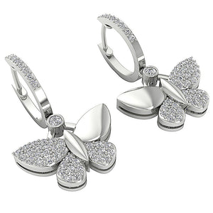 Side View Natural Diamond White Gold Earring-DE200