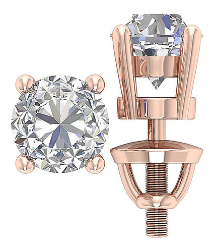 14K Rose Gold Prong Solitaire Studs Earring