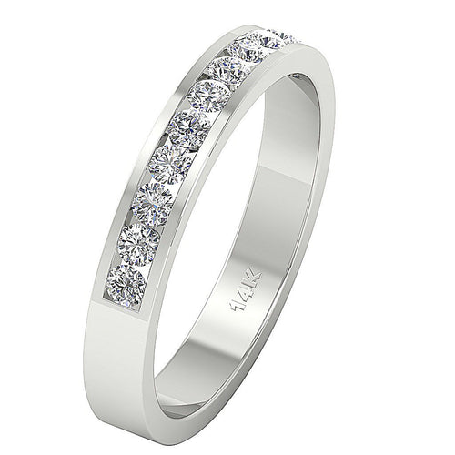 14k White Yellow Rose Gold Petite Wedding Ring SI1 G 0.50 Ct Natural Diamond Channel Set 3.70MM