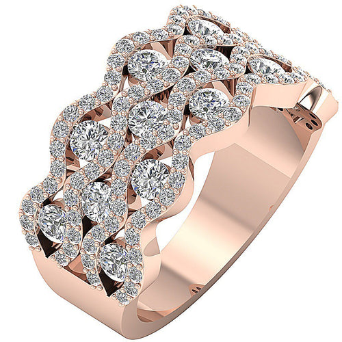 14k Rose Gold Natural Diamond Band
