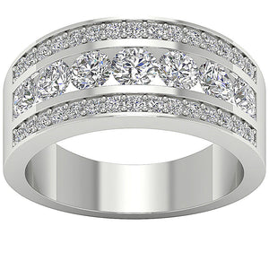 Designer Wedding Ring Natural Diamond SI1 G 2.25 Ct Prong & Channel Set 14K White Gold