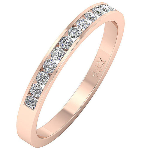 14k White Yellow Rose Gold Petite Wedding Ring I1 G 0.40 Ct Natural Diamond Channel Set 2.10MM