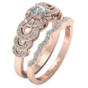 Natural Diamond Bridal Ring Set 14k Rose Gold