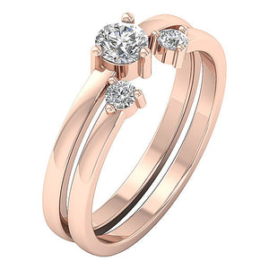 Side View 14k Solid Gold Bridal Ring Set