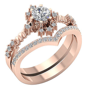 14k Solid Gold Designer Bridal Ring Set