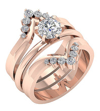 Load image into Gallery viewer, 14k Solid Gold Designer Bridal Ring Set