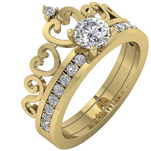 Load image into Gallery viewer, 14k Yellow Gold Designer Bridal Ring Set