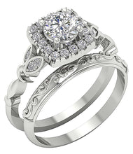 Load image into Gallery viewer, Natural Diamond Bridal Ring Set 14k White Gold