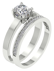 14k White Gold Prong Setting In Bridal Ring Set