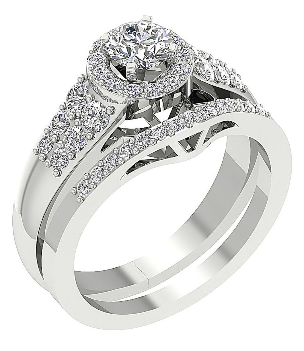 14k White Gold Unique Style Bridal Ring Set
