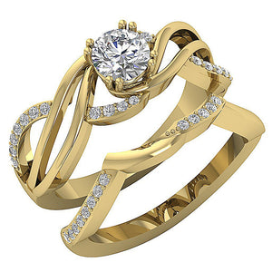 14k Solid Gold Antique Style Bridal Ring Set