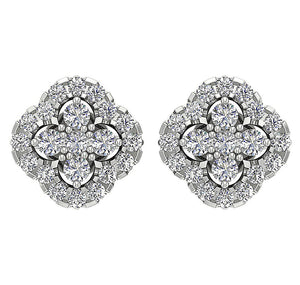 14k White Gold Genuine Diamond Earring Set