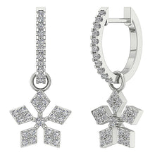 Load image into Gallery viewer, 14k White Gold Designer Earring Set Natural Diamond