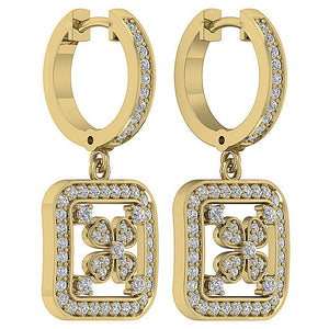 Natural Diamond Earring Set 14k Yellow Gold