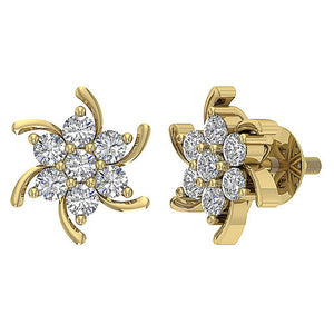 Round Diamond Earring Set 14k Yellow Gold