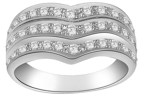 Right Hand Designer Anniversary Ring I1 G 1.01 Ct Round Diamond 14k White Gold Prong Set 9.20MM