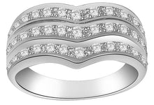 Load image into Gallery viewer, Right Hand Designer Anniversary Ring VVS1 E 1.01 Ct Natural Diamond 14k White Gold Prong Set 9.20MM