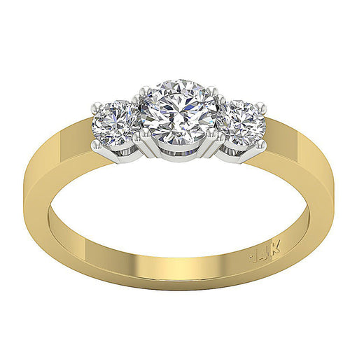 14K Two Tone Gold Three Stone Anniversary Ring Natural Diamond SI1 G 0.90 Ct Prong Set Width 5.15MM