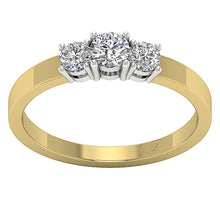 Load image into Gallery viewer, 14K Yellow Gold Three Stone Anniversary Ring Natural Diamond SI1 G 0.70 Carat Prong Set 3.50MM