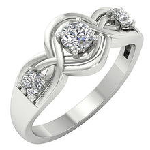 Load image into Gallery viewer, 3 Stone Wedding Ring 14k White Gold Prong Set-DTR159-TR-165-2