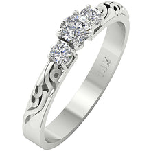 Load image into Gallery viewer, Side View Vintage Anniversary Ladis Ring 14k White Gold-TR-125-2