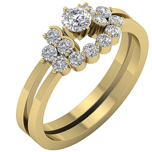 14k Yellow Gold Designer Anniversary Ring Natural Diamond-CR-98-1.01CT
