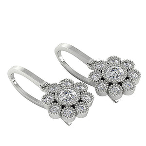 Halo Round Diamonds Earrings-DE108