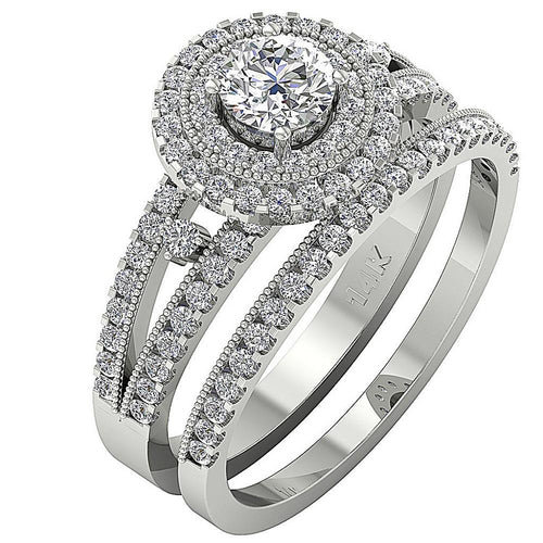 14k White Gold Designer Bridal Ring Set-CR-137